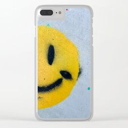 Smiley Face Spray Paint Clear iPhone Case