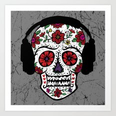 Sugar Skull with headphones Art Print