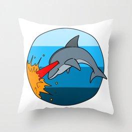 Laser Dolphin 1980s Retro Sci-Fi Design Throw Pillow