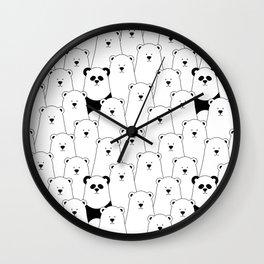 Polar bear and panda cartoon Wall Clock