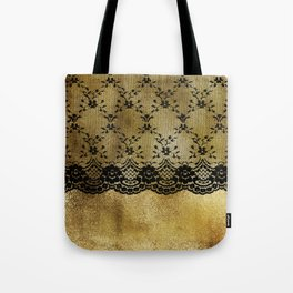 Black floral elegant lace on gold metal background Tote Bag