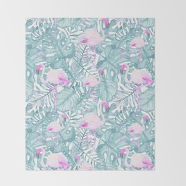 Neon pink green watercolor flamingo tropical leaves Throw Blanket