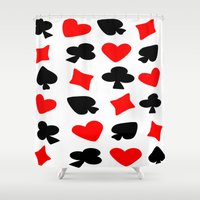 suits Shower Curtains featuring Red And Black Card Suits by Justbyjulie