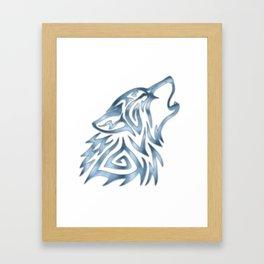 Tribal Wolf Howl Brushed Steel Framed Art Print