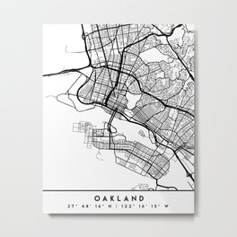 OAKLAND CALIFORNIA BLACK CITY STREET MAP ART Metal Print