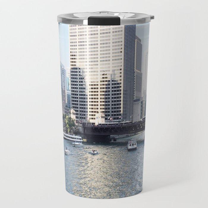 Magic Hour Downtown, Chicago River Travel Mug