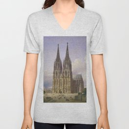 Carl Hasenpflug - Ideal View of Cologne Cathedral from Southwest Unisex V-Neck
