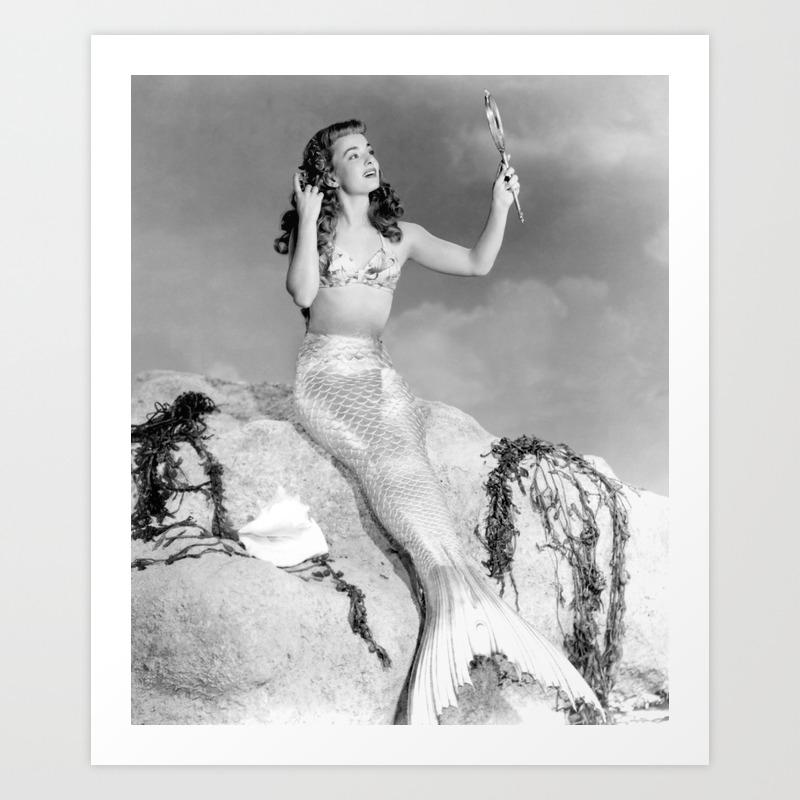 Vintage Mermaid : Mr Peabody & The Mermaid Art Print by Vintagephotos PRN6436975