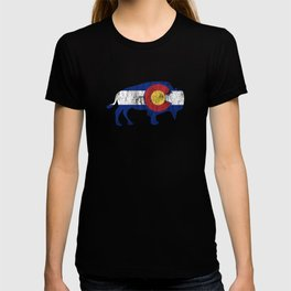 Native Colorado Gifts CO State Flag Colorado Pride Buffalo T-shirt