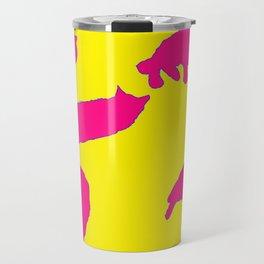 Sleeping cats pink on yellow Travel Mug