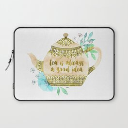 Watercolor Teapot Flowers Laptop Sleeve