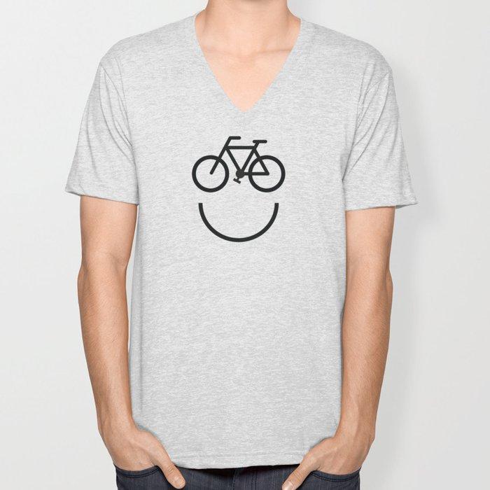 Bike face, bicycle smiley Unisex V-Neck