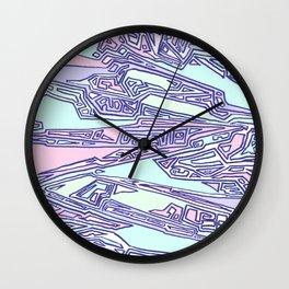 Purple Crazy Hand Drawn Pattern Wall Clock