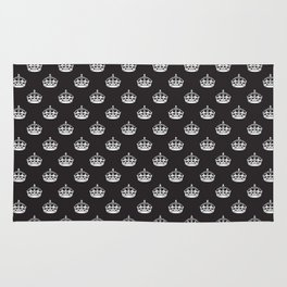 White on Black Crown Pattern Rug