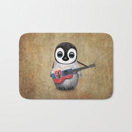 Baby Penguin Playing Slovakian Flag Guitar Bath Mat