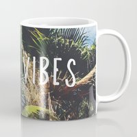good vibes Mugs featuring good vibes by Hillary Murphy