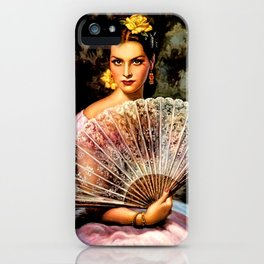 Jesus Helguera Painting of Spanish Beauty with Lacey Fan iPhone Case