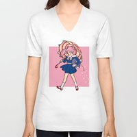 sailormoon V-neck T-shirts featuring Salty Magical Girl by eriphyle