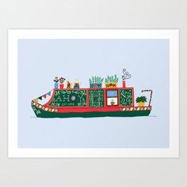 Narrowboat Illustration Art Print