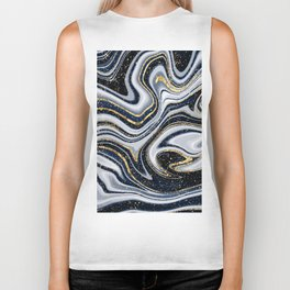 Grey,black and gold marble Biker Tank