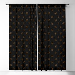 Chocolate Brown on Black Snowflakes Blackout Curtain