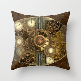 Steampunk, awesome clocks Throw Pillow