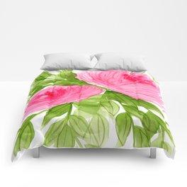Pink Peonies in Watercolor Comforters
