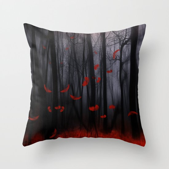 Red feather dance  -  by Viviana Gonzalez Throw Pillow
