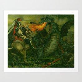 Knight & Dragon Art Print