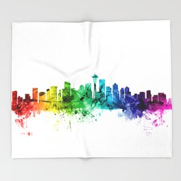Seattle Washington Skyline Throw Blanket