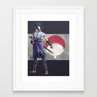 sasuke Framed Art Prints featuring Uchiha Sasuke  by hudashick
