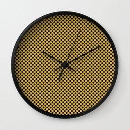 Spicy Mustard and Black Polka Dots Wall Clock