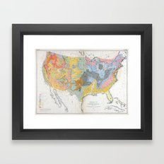 1874 Geological Map of the United States Framed Art Print