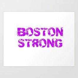 Support BOSTON STRONG Purple Grunge Art Print