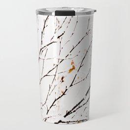 Snowy birch twigs and leaves #society6 #decor #buyart Travel Mug
