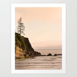 Lone Tree Sunset, Short Sands Beach, Oregon Coast Art Print