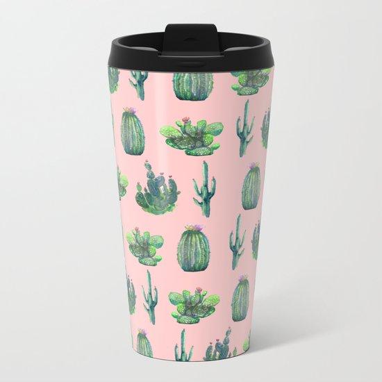 cactus pink Metal Travel Mug