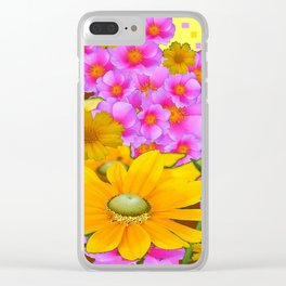 MODERN RAZZLE-DAZZLE PINK-YELLOW FLORALS Clear iPhone Case