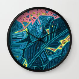 tropical leaves abstract 1 Wall Clock