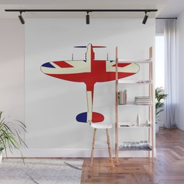 World War 2 Fighter Union Jack Silhouette Wall Mural