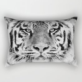 Black and White Tiger Mixed Media Digital Art Rectangular Pillow