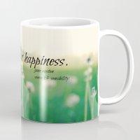 jane austen Mugs featuring Happiness Jane Austen by KimberosePhotography