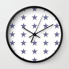50 Blue Stars Wall Clock