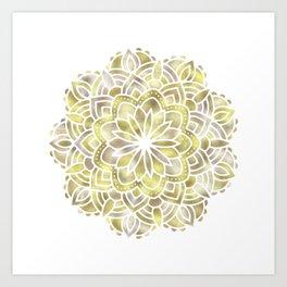Mandala Multi Metal Yellow Gold Art Print