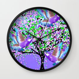 BIRDS OF SPRING PURPLE OIL PAINTING Wall Clock