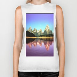 Grand Tetons 🌄 Purple Reflection Biker Tank