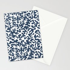 navy coral pattern Stationery Cards