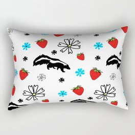 Skunk, Flowers, and Strawberry Pattern Cute Quirky Whimsical Rectangular Pillow