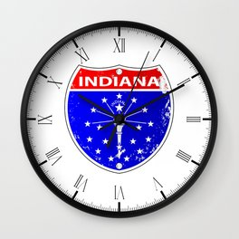 Indiana Flag Icons As A Interstate Sign Wall Clock
