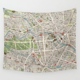 Vintage Map of Berlin Germany (1905) Wall Tapestry